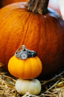 Fall Wedding in Idaho - Rings and Pumpkin